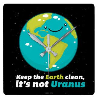 Behalten Sie die Erde sauber Quadratische Wanduhr