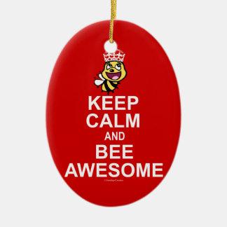 Behalten Sie die Ruhe und Biene fantastisch Keramik Ornament