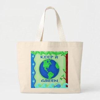 Behalten Sie es grün, Erdumwelt-Kunst zu retten Jumbo Stoffbeutel