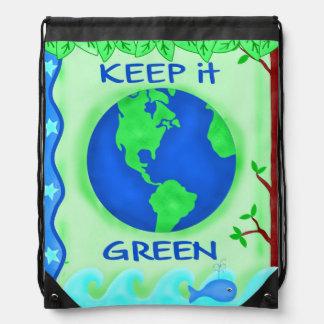 Behalten Sie es grün, Erdumwelt-Kunst zu retten Turnbeutel