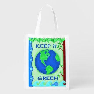 Behalten Sie es grün, Erdumwelt-Kunst zu retten Wiederverwendbare Tragetaschen