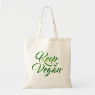Behalten Sie es veganes glückliches Zitat Budget Stoffbeutel