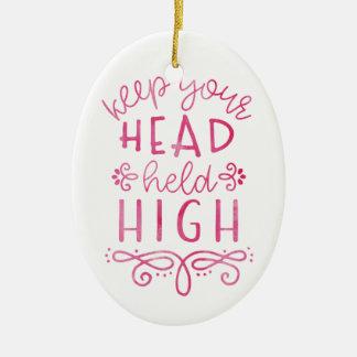 Behalten Sie Ihre Kopf gehaltene hohe motivierend Ovales Keramik Ornament