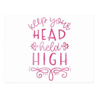 Behalten Sie Ihre Kopf gehaltene hohe motivierend Postkarte