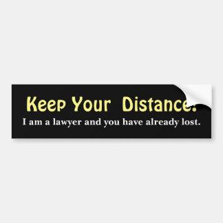 Behalten Sie Ihren Abstand! Rechtsanwalt - lustige Autoaufkleber