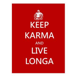 behalten Sie Karma und leben Sie longa Postkarte