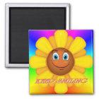 Behalten Sie lächelnden Magneten (Sonnenblume) Quadratischer Magnet