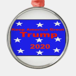 Behalten Sie politischen Slogan Amerikas große… Rundes Silberfarbenes Ornament