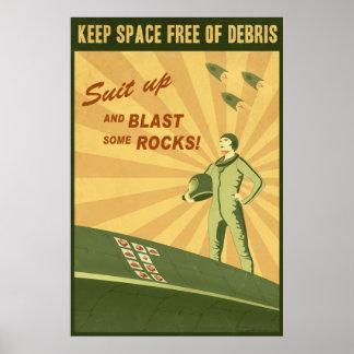 Behalten Sie Raum frei vom Rückstand Poster