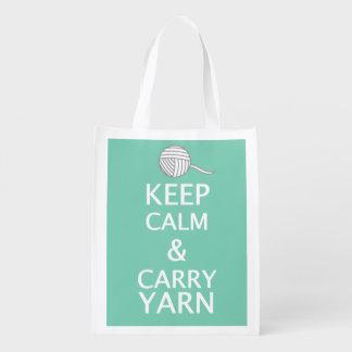 Behalten Sie Ruhe, das Garn-Handwerk zu tragen Wiederverwendbare Einkaufstasche