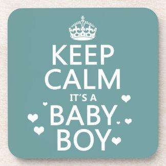 Behalten Sie Ruhe, die es ein Baby-Junge ist Untersetzer