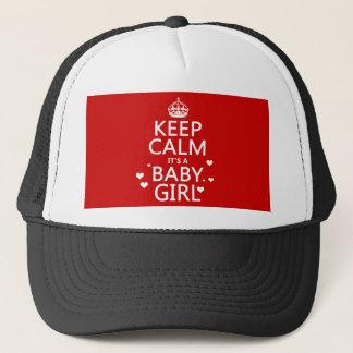 Behalten Sie Ruhe, die es ein Baby-Mädchen ist Truckerkappe