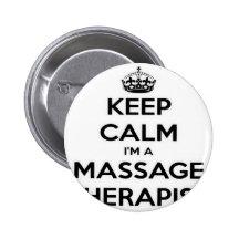 Behalten Sie Ruhe, die ich ein Massage-Therapeut Button
