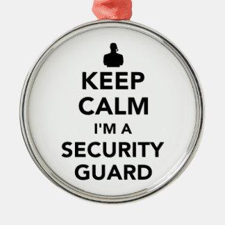 Behalten Sie Ruhe, die ich ein Sicherheitsschutz Rundes Silberfarbenes Ornament