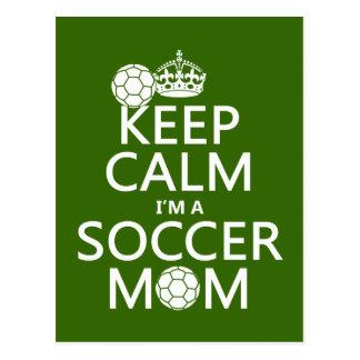 Behalten Sie Ruhe, die ich eine Fußball-Mamma bin Postkarte
