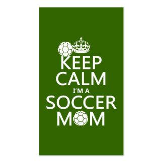 Behalten Sie Ruhe, die ich eine Fußball-Mamma bin Visitenkarten Vorlagen