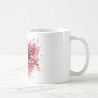 Behalten Sie Ruhe, die ich eine Kaffeetasse