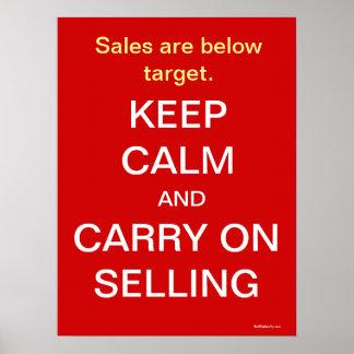Behalten Sie Ruhe geistreichen, Verkaufs-Slogan zu Poster
