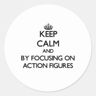 Behalten Sie Ruhe, indem Sie auf Aktions-Zahlen Runder Aufkleber