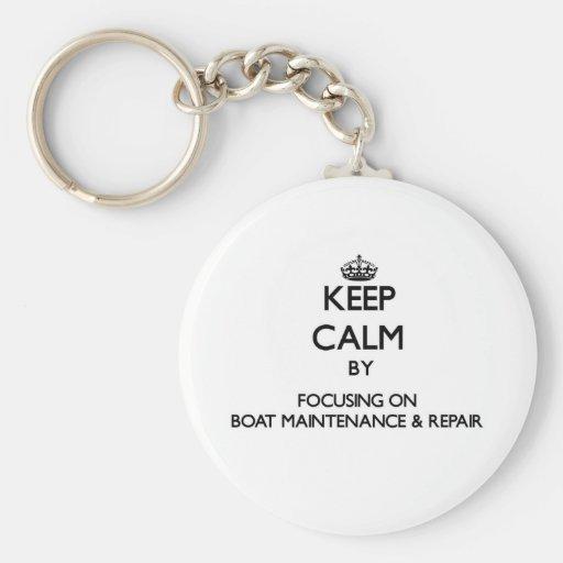 Behalten Sie Ruhe, indem Sie auf Boots-Wartung Schlüsselanhänger