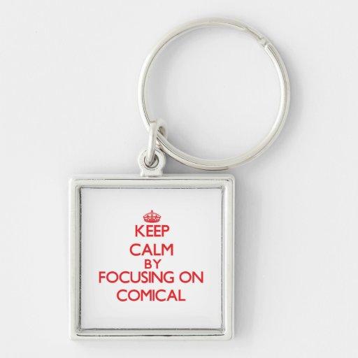 Behalten Sie Ruhe, indem Sie auf komisches sich Schlüsselband