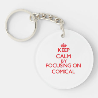 Behalten Sie Ruhe, indem Sie auf komisches sich Schlüsselanhänger
