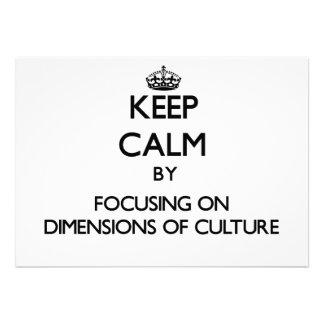Behalten Sie Ruhe, indem Sie auf Maße der Kultur Ankündigungen