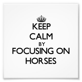 Behalten Sie Ruhe, indem Sie auf Pferde sich Fotografischer Druck