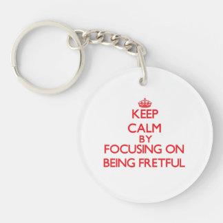 Behalten Sie Ruhe, indem Sie auf Sein ärgerlich Einseitiger Runder Acryl Schlüsselanhänger