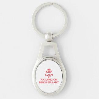 Behalten Sie Ruhe, indem Sie auf Sein gereizt sich Silberfarbener Oval Schlüsselanhänger