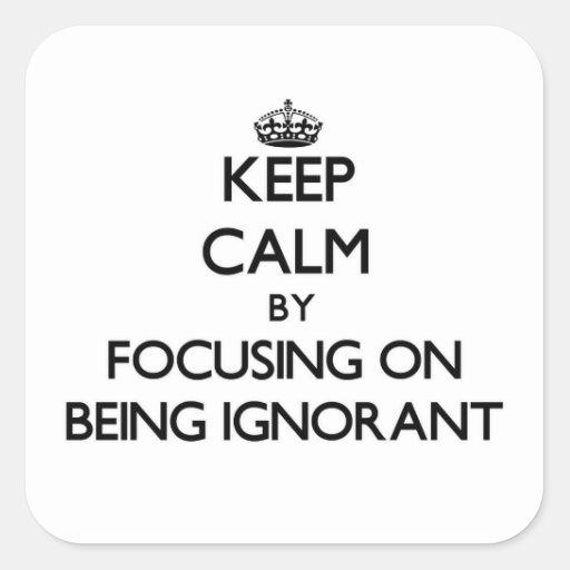 Behalten Sie Ruhe, indem Sie auf Sein ignorant Quadrataufkleber