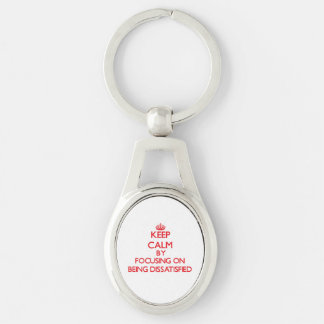 Behalten Sie Ruhe, indem Sie auf unzufrieden Silberfarbener Oval Schlüsselanhänger