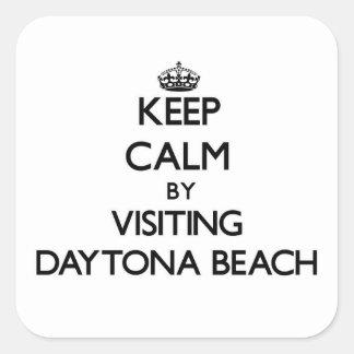 Behalten Sie Ruhe, indem Sie Daytona Beach Florida Quadrataufkleber