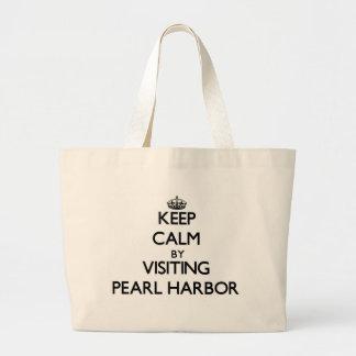 Behalten Sie Ruhe, indem Sie Pearl Harbor Hawaii Leinentaschen