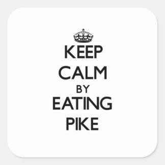 Behalten Sie Ruhe, indem Sie Pike essen Quadrat-Aufkleber
