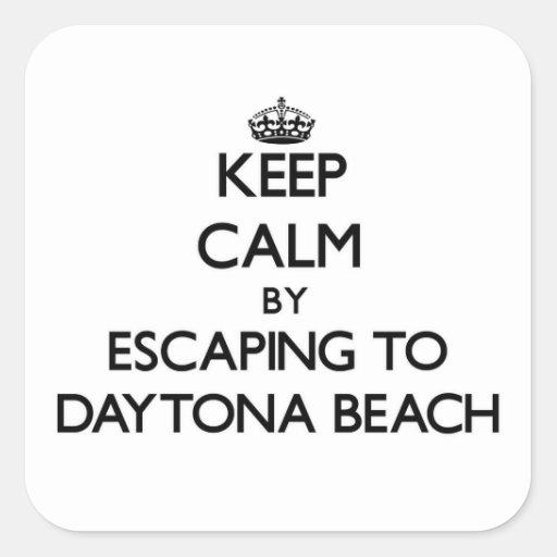 Behalten Sie Ruhe, indem Sie zu Daytona Beach Quadrataufkleber