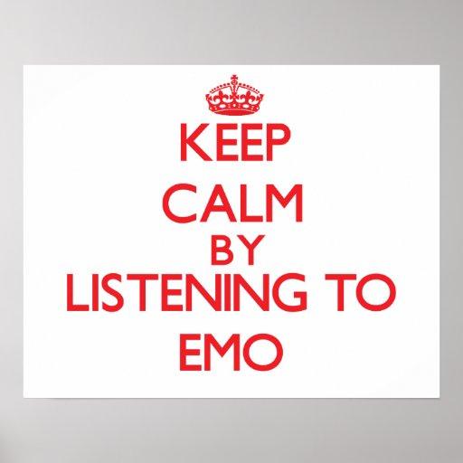 Behalten Sie Ruhe, indem Sie zu EMO hören Plakatdrucke