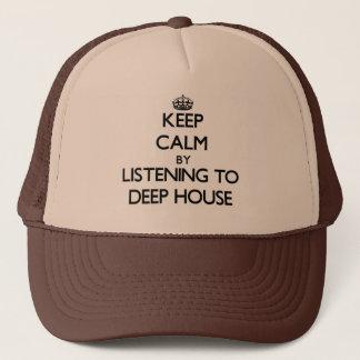Behalten Sie Ruhe, indem Sie zum TIEFEN HAUS hören Truckerkappe