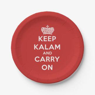 Behalten Sie Ruhe-/Kalam Pappteller