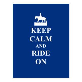 Behalten Sie Ruhe u. fahren Sie auf (Blau) Postkarte