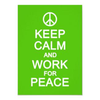 Behalten Sie Ruhe u. fertigen Arbeit für Frieden, 12,7 X 17,8 Cm Einladungskarte