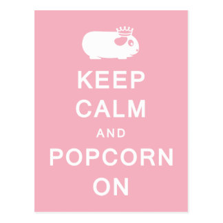 Behalten Sie Ruhe u. Popcorn auf Postkarte