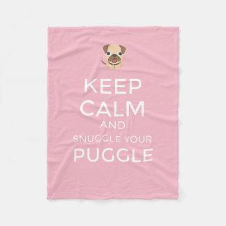 Behalten Sie Ruhe u. Snuggle Ihr Puggle - Fleecedecke