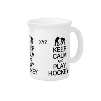 Behalten Sie Ruhe-u. Spiel-Hockeygewohnheitskrug Getränke Pitcher