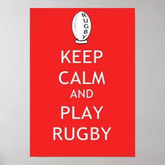 Behalten Sie Ruhe-u. Spiel-Rugby Poster