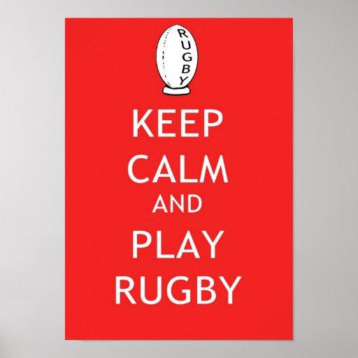 Behalten Sie Ruhe-u. Spiel-Rugby Plakatdruck