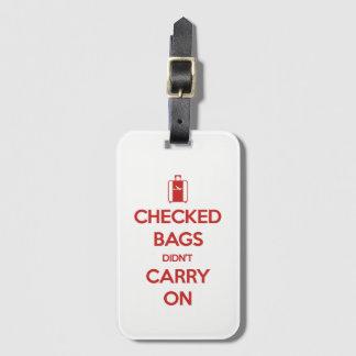 Behalten Sie Ruhe überprüfte Taschen weitermachte Gepäckanhänger