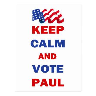 Behalten Sie Ruhe und Abstimmung Paul Postkarte