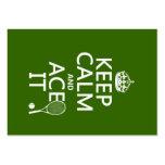 Behalten Sie Ruhe und Ace sie (Tennis) (in Visitenkarten