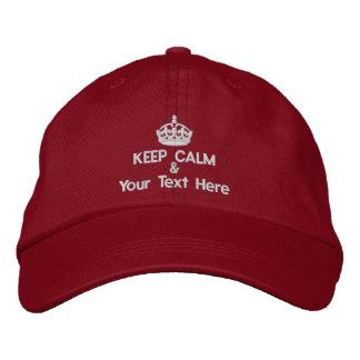 Behalten Sie Ruhe und addieren Sie Ihren eigenen Bestickte Kappe